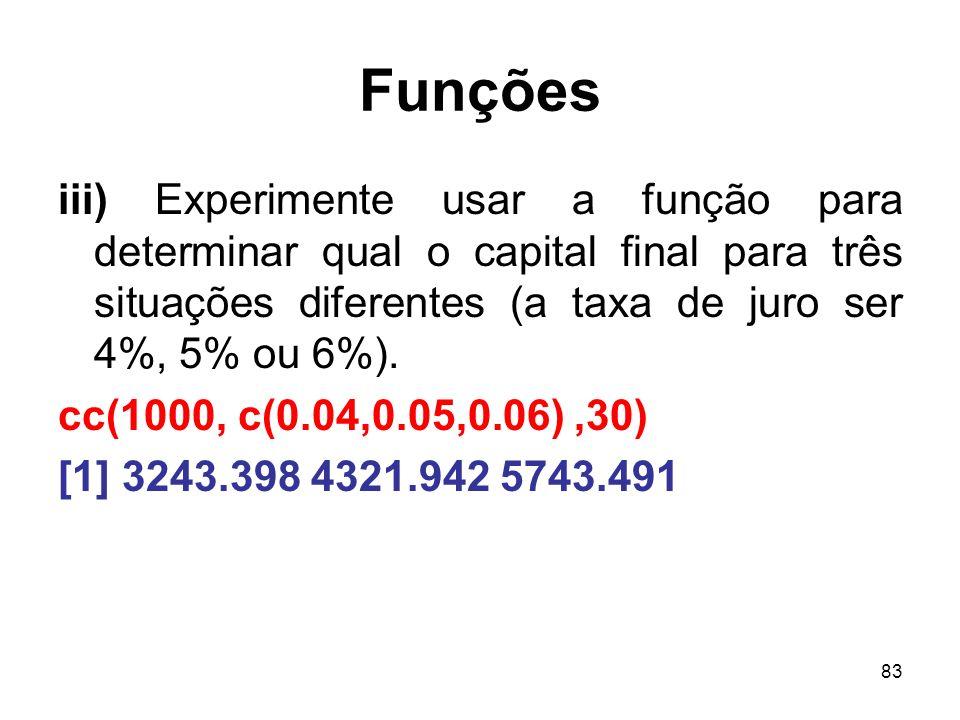 83 Funções iii) Experimente usar a função para determinar qual o capital final para três situações diferentes (a taxa de juro ser 4%, 5% ou 6%).
