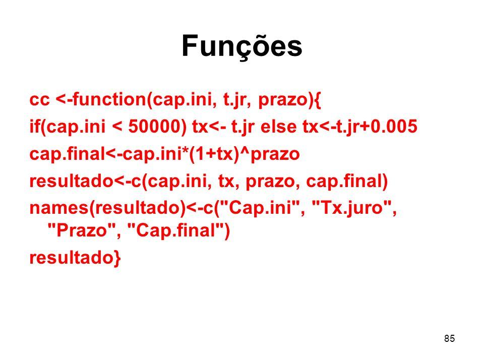 85 Funções cc <-function(cap.ini, t.jr, prazo){ if(cap.ini < 50000) tx<- t.jr else tx<-t.jr+0.005 cap.final<-cap.ini*(1+tx)^prazo resultado<-c(cap.ini, tx, prazo, cap.final) names(resultado)<-c( Cap.ini , Tx.juro , Prazo , Cap.final ) resultado}