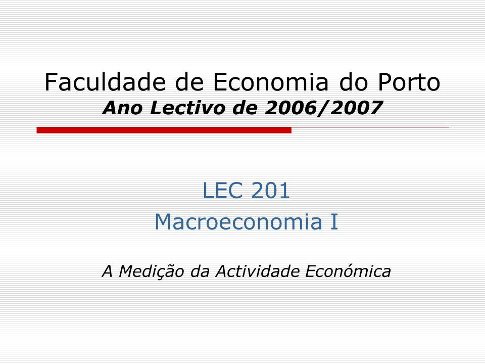Faculdade de Economia do Porto Ano Lectivo de 2006/2007 LEC 201 Macroeconomia I A Medição da Actividade Económica