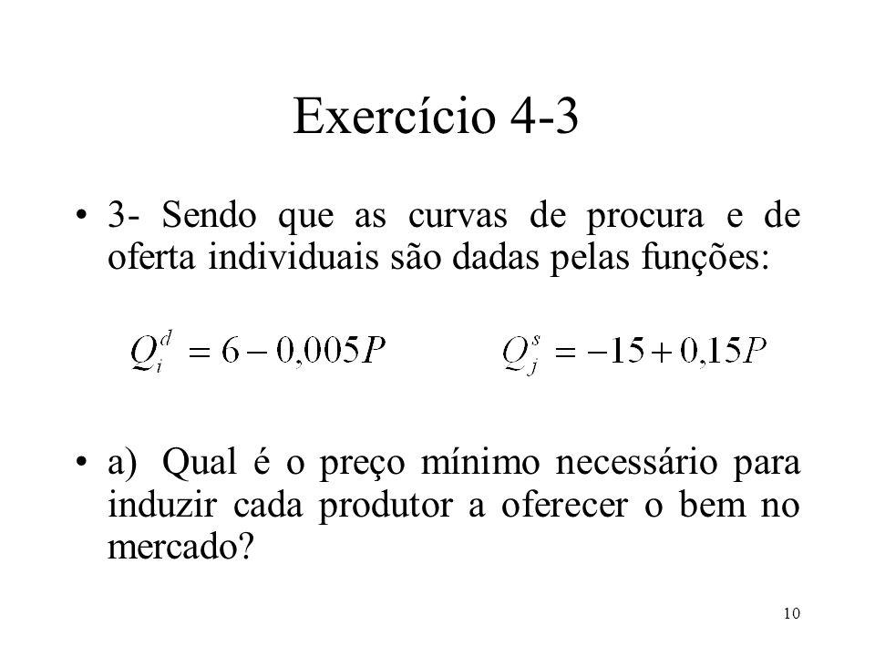10 Exercício 4-3 3- Sendo que as curvas de procura e de oferta individuais são dadas pelas funções: a) Qual é o preço mínimo necessário para induzir c
