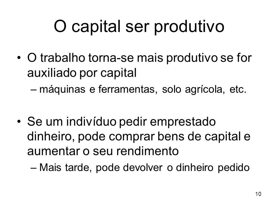 10 O capital ser produtivo O trabalho torna-se mais produtivo se for auxiliado por capital –máquinas e ferramentas, solo agrícola, etc. Se um indivídu