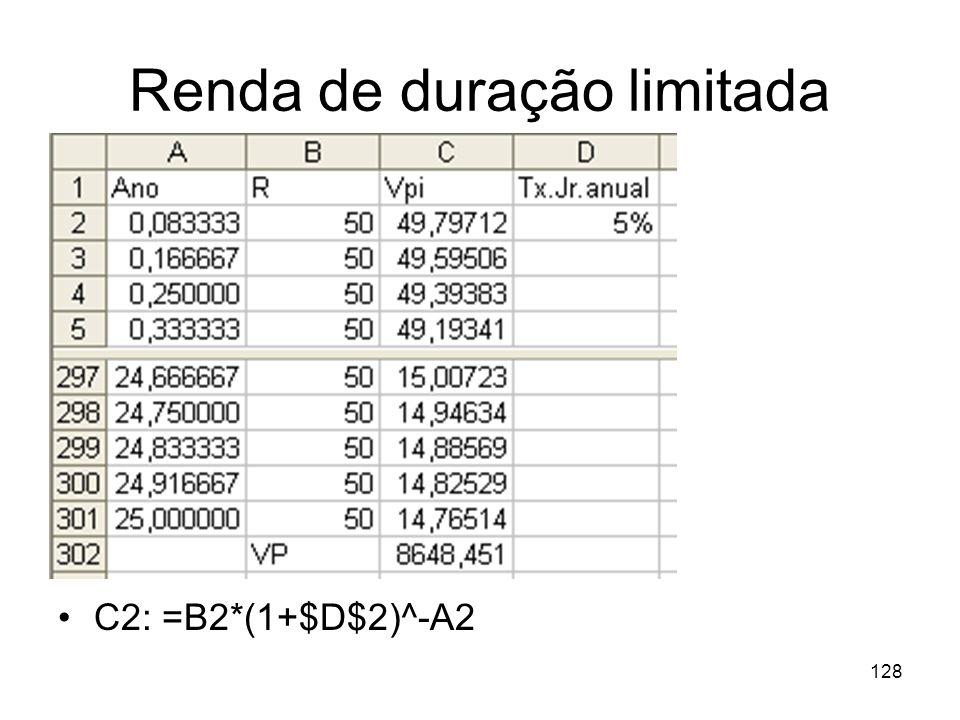 128 Renda de duração limitada C2: =B2*(1+$D$2)^-A2