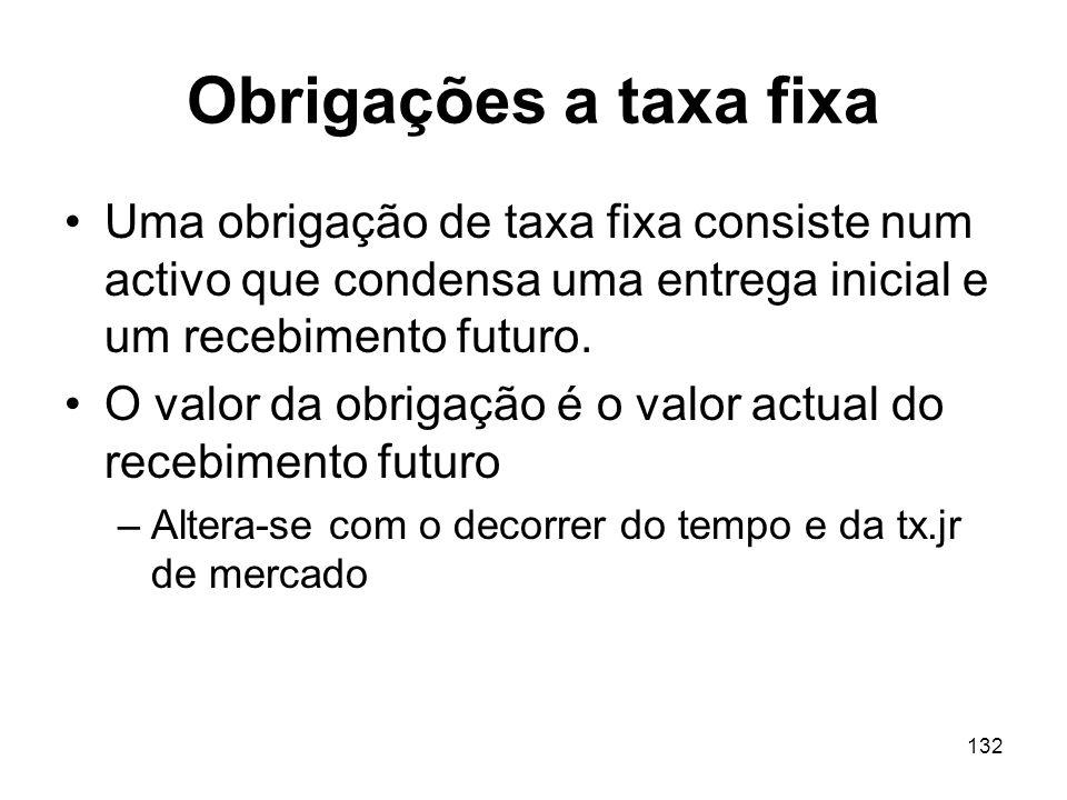 132 Obrigações a taxa fixa Uma obrigação de taxa fixa consiste num activo que condensa uma entrega inicial e um recebimento futuro. O valor da obrigaç