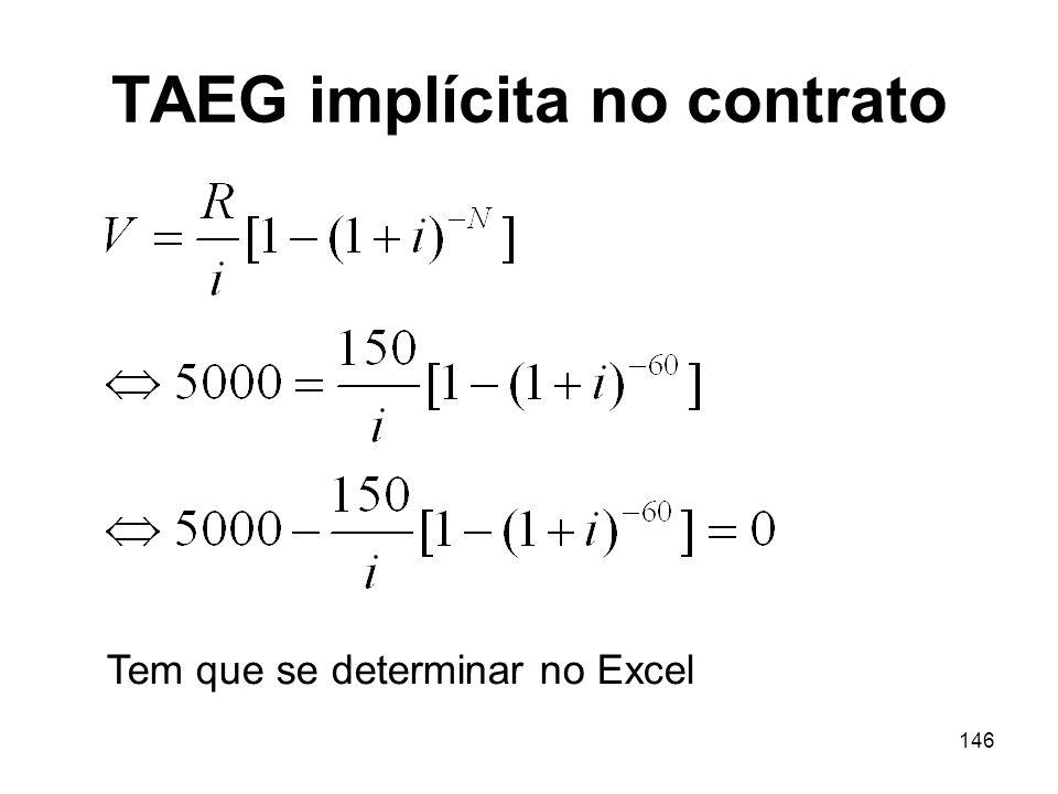 146 TAEG implícita no contrato Tem que se determinar no Excel