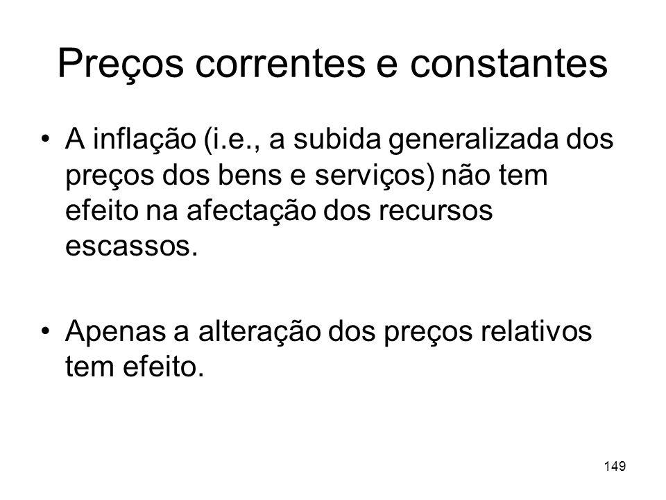149 Preços correntes e constantes A inflação (i.e., a subida generalizada dos preços dos bens e serviços) não tem efeito na afectação dos recursos esc
