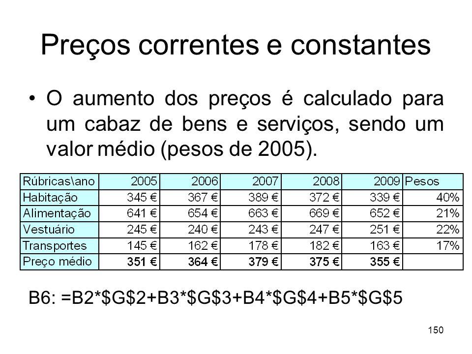 150 Preços correntes e constantes O aumento dos preços é calculado para um cabaz de bens e serviços, sendo um valor médio (pesos de 2005). B6: =B2*$G$