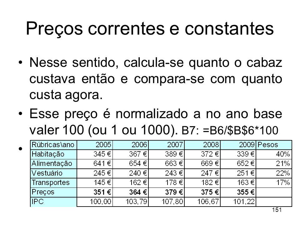 151 Preços correntes e constantes Nesse sentido, calcula-se quanto o cabaz custava então e compara-se com quanto custa agora. Esse preço é normalizado