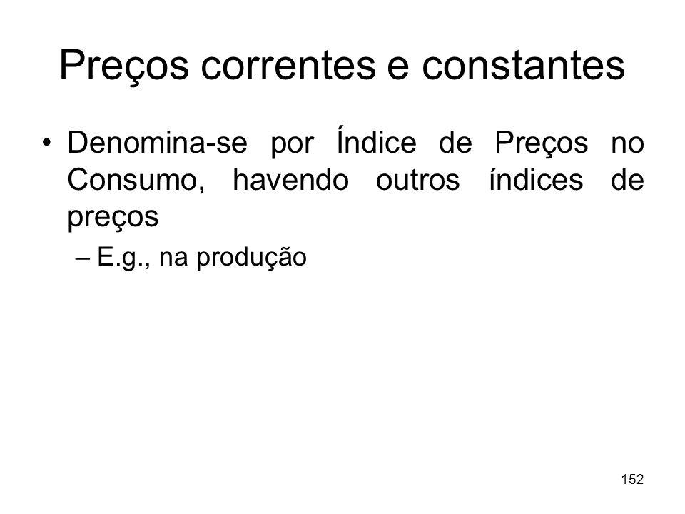 152 Preços correntes e constantes Denomina-se por Índice de Preços no Consumo, havendo outros índices de preços –E.g., na produção
