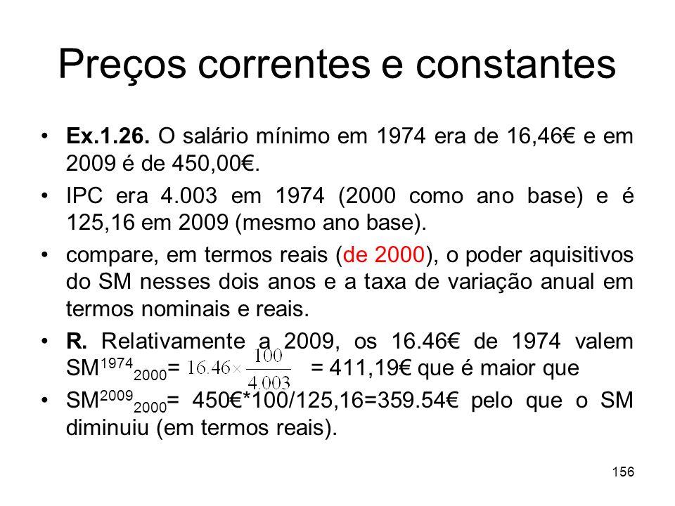 156 Preços correntes e constantes Ex.1.26. O salário mínimo em 1974 era de 16,46 e em 2009 é de 450,00. IPC era 4.003 em 1974 (2000 como ano base) e é