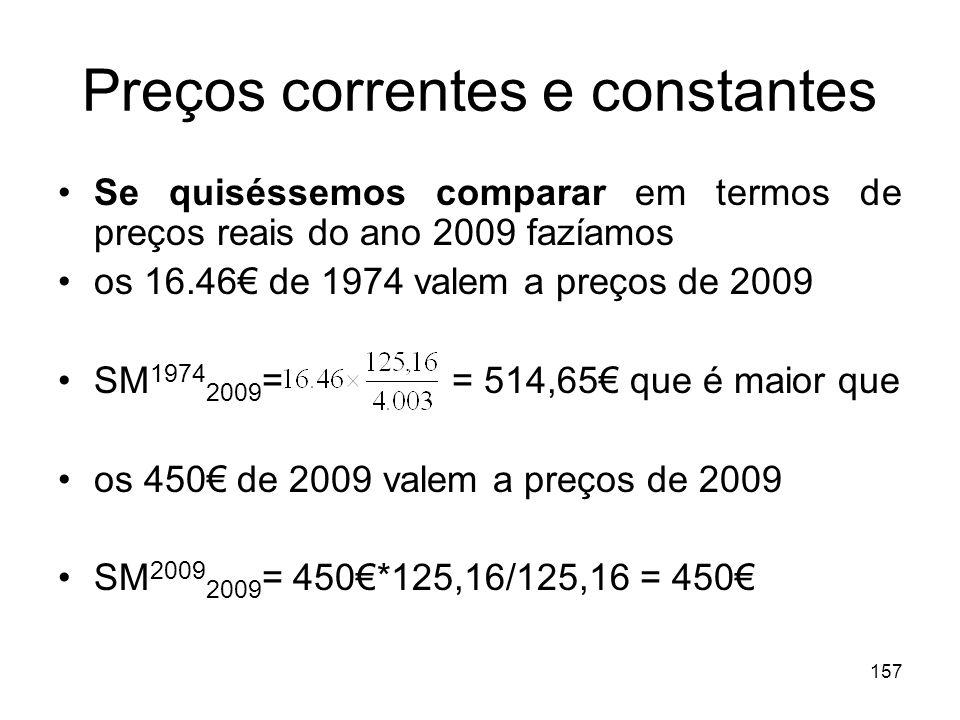 157 Preços correntes e constantes Se quiséssemos comparar em termos de preços reais do ano 2009 fazíamos os 16.46 de 1974 valem a preços de 2009 SM 19