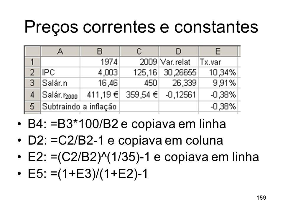159 Preços correntes e constantes B4: =B3*100/B2 e copiava em linha D2: =C2/B2-1 e copiava em coluna E2: =(C2/B2)^(1/35)-1 e copiava em linha E5: =(1+