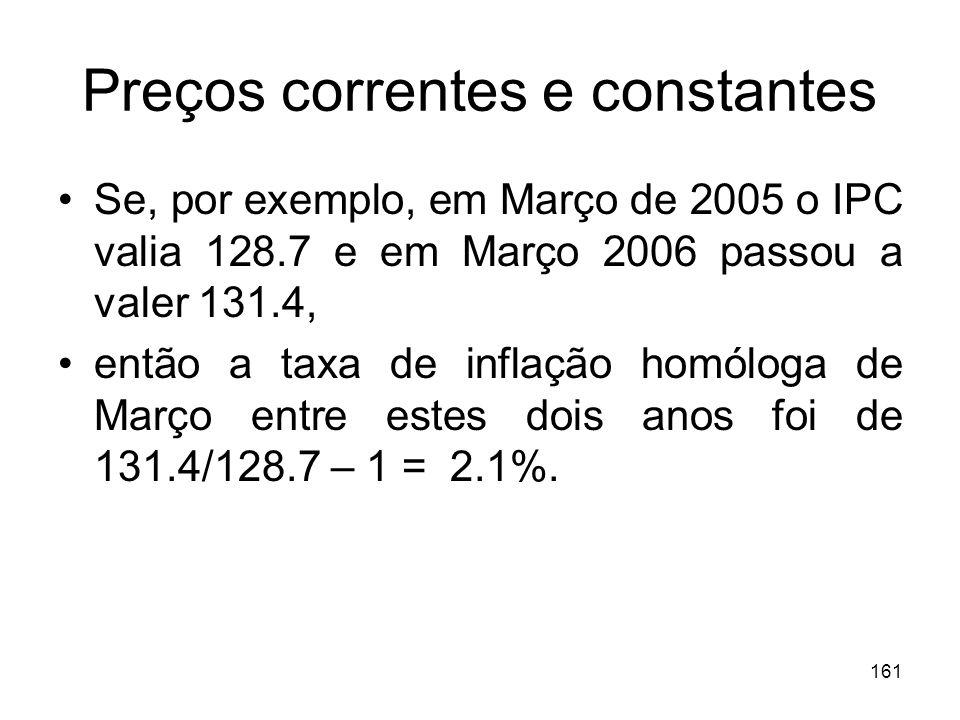 161 Preços correntes e constantes Se, por exemplo, em Março de 2005 o IPC valia 128.7 e em Março 2006 passou a valer 131.4, então a taxa de inflação h