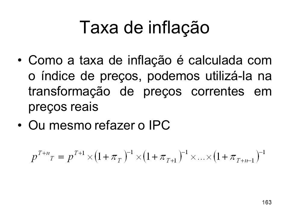 163 Taxa de inflação Como a taxa de inflação é calculada com o índice de preços, podemos utilizá-la na transformação de preços correntes em preços rea