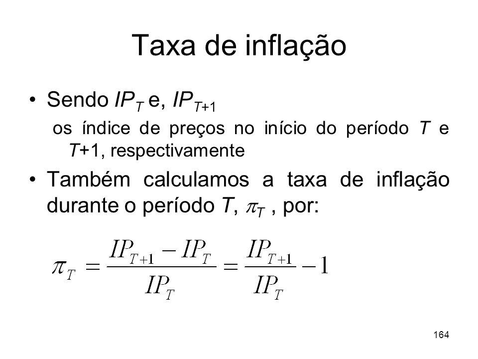164 Taxa de inflação Sendo IP T e, IP T+1 os índice de preços no início do período T e T+1, respectivamente Também calculamos a taxa de inflação duran