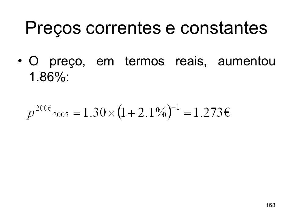 168 Preços correntes e constantes O preço, em termos reais, aumentou 1.86%: