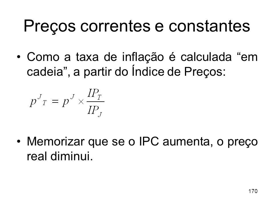 170 Preços correntes e constantes Como a taxa de inflação é calculada em cadeia, a partir do Índice de Preços: Memorizar que se o IPC aumenta, o preço