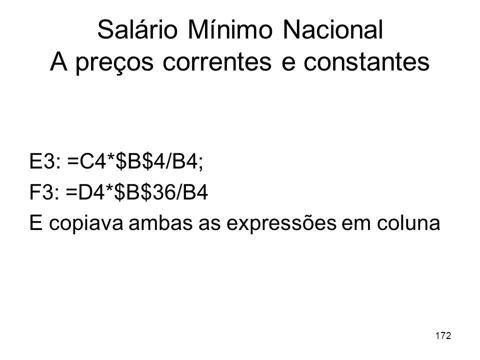172 Salário Mínimo Nacional A preços correntes e constantes E3: =C4*$B$4/B4; F3: =D4*$B$36/B4 E copiava ambas as expressões em coluna