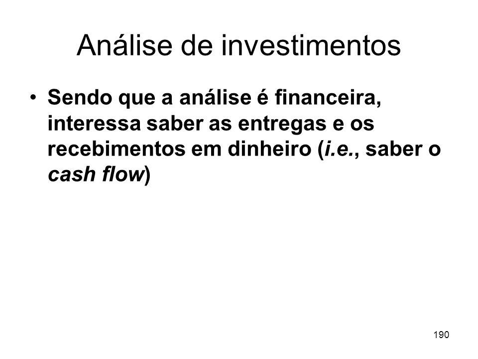 190 Análise de investimentos Sendo que a análise é financeira, interessa saber as entregas e os recebimentos em dinheiro (i.e., saber o cash flow)