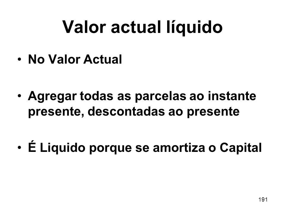 191 Valor actual líquido No Valor Actual Agregar todas as parcelas ao instante presente, descontadas ao presente É Liquido porque se amortiza o Capita