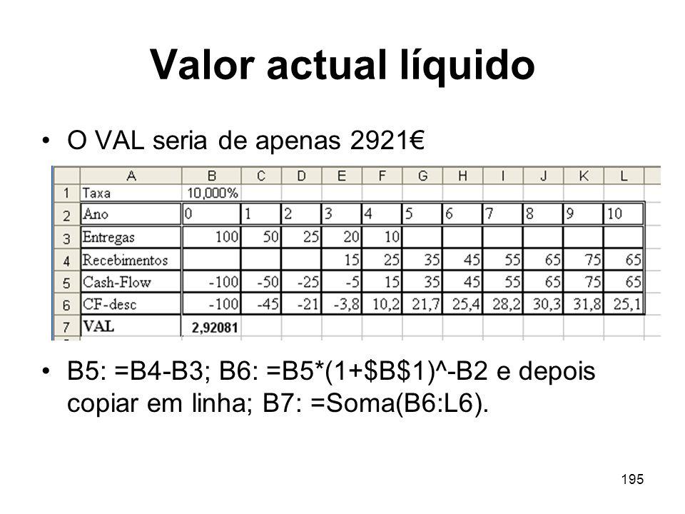 195 Valor actual líquido O VAL seria de apenas 2921 B5: =B4-B3; B6: =B5*(1+$B$1)^-B2 e depois copiar em linha; B7: =Soma(B6:L6).