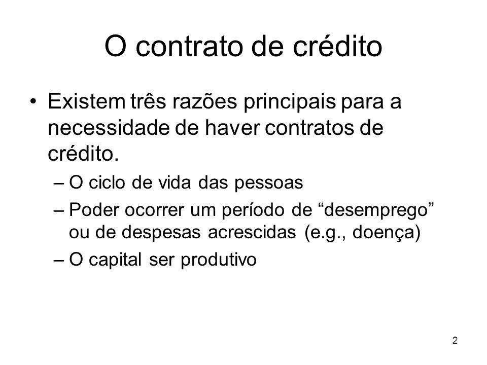 2 O contrato de crédito Existem três razões principais para a necessidade de haver contratos de crédito. –O ciclo de vida das pessoas –Poder ocorrer u