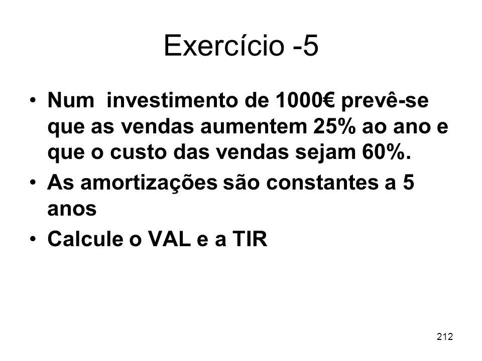 212 Exercício -5 Num investimento de 1000 prevê-se que as vendas aumentem 25% ao ano e que o custo das vendas sejam 60%. As amortizações são constante