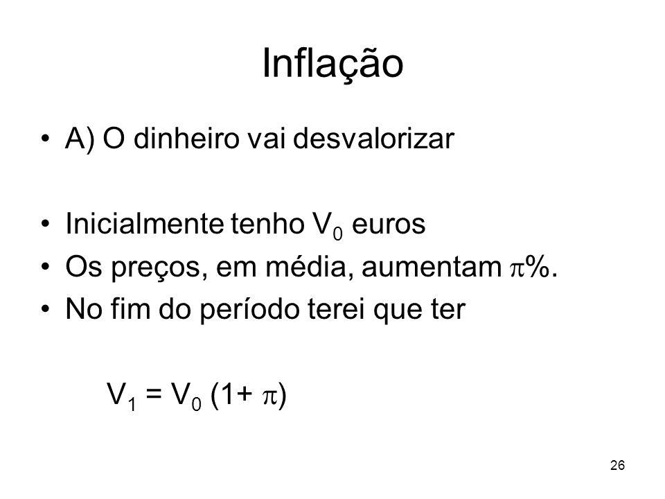 26 Inflação A) O dinheiro vai desvalorizar Inicialmente tenho V 0 euros Os preços, em média, aumentam %. No fim do período terei que ter V 1 = V 0 (1+