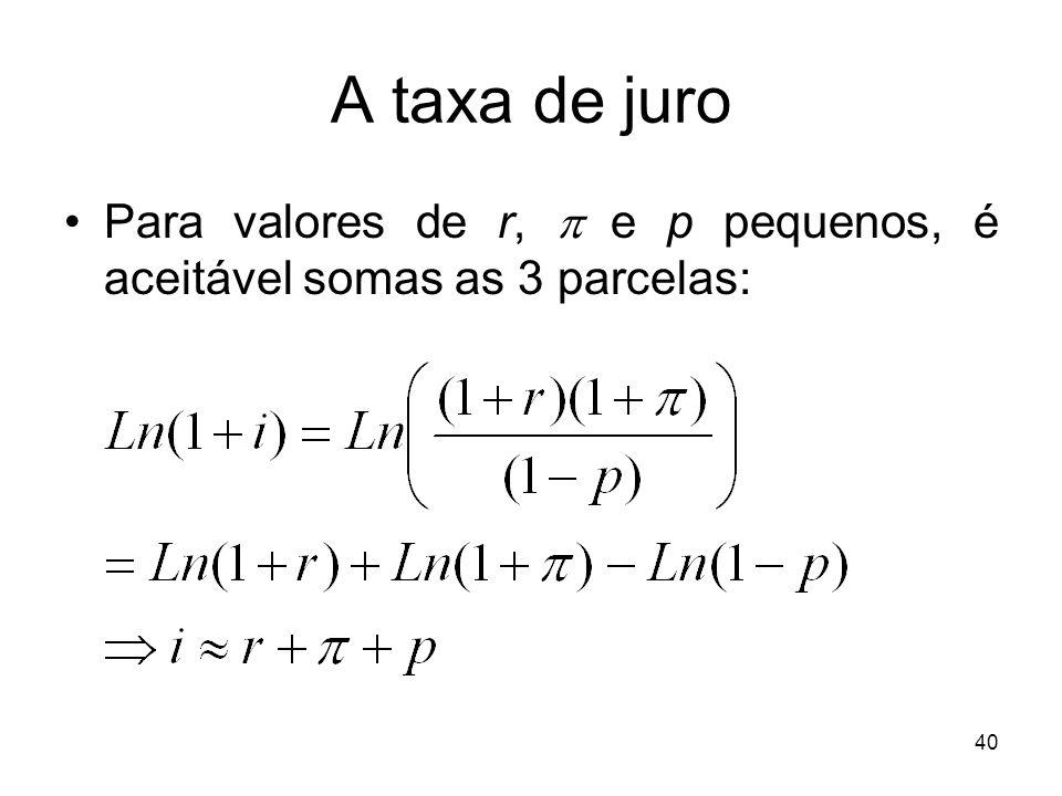 40 A taxa de juro Para valores de r, e p pequenos, é aceitável somas as 3 parcelas: