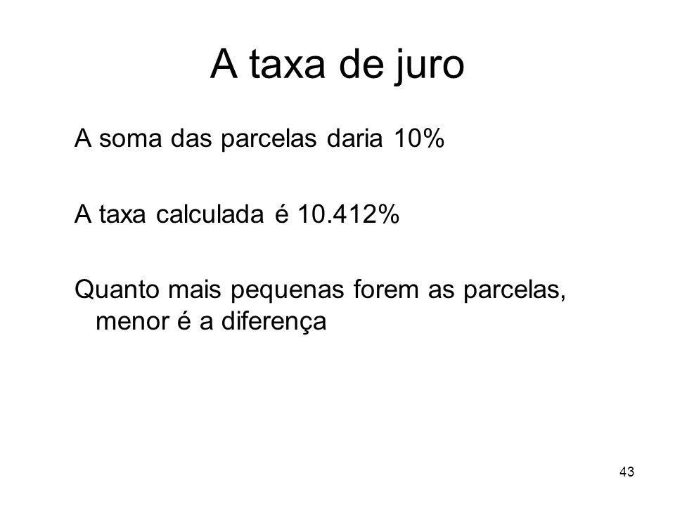 43 A taxa de juro A soma das parcelas daria 10% A taxa calculada é 10.412% Quanto mais pequenas forem as parcelas, menor é a diferença
