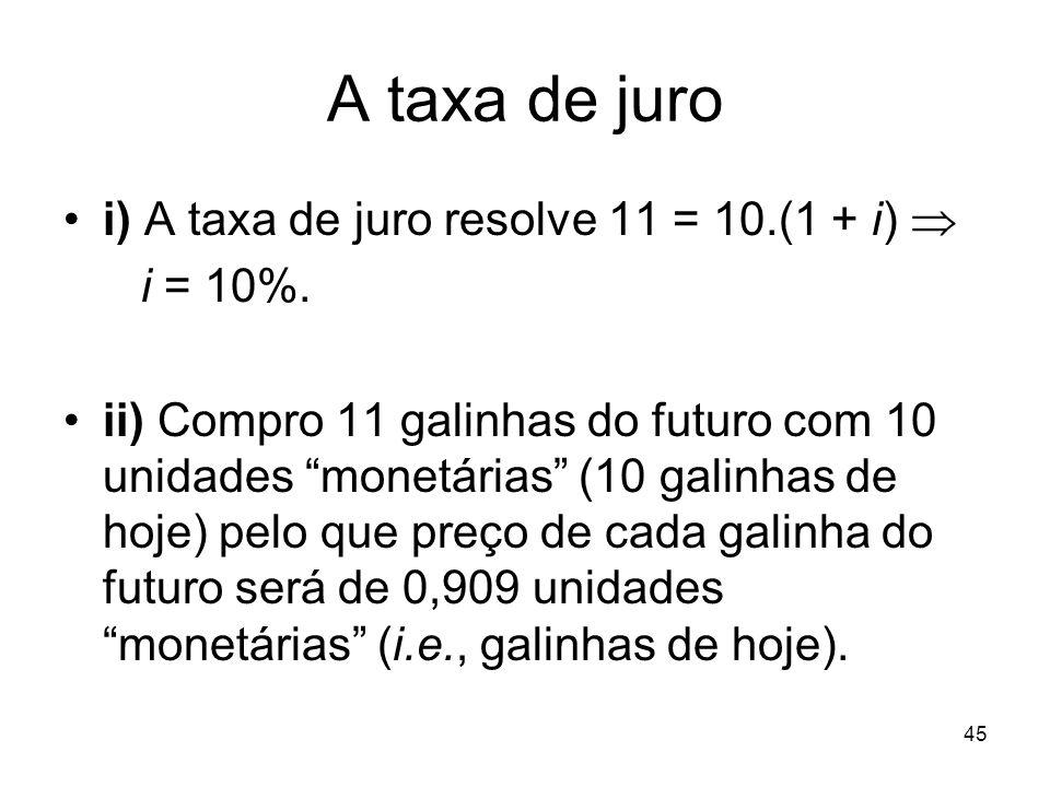 45 A taxa de juro i) A taxa de juro resolve 11 = 10.(1 + i) i = 10%. ii) Compro 11 galinhas do futuro com 10 unidades monetárias (10 galinhas de hoje)