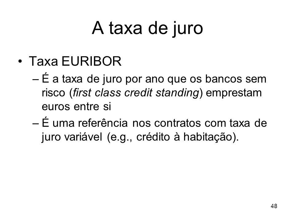 48 A taxa de juro Taxa EURIBOR –É a taxa de juro por ano que os bancos sem risco (first class credit standing) emprestam euros entre si –É uma referên