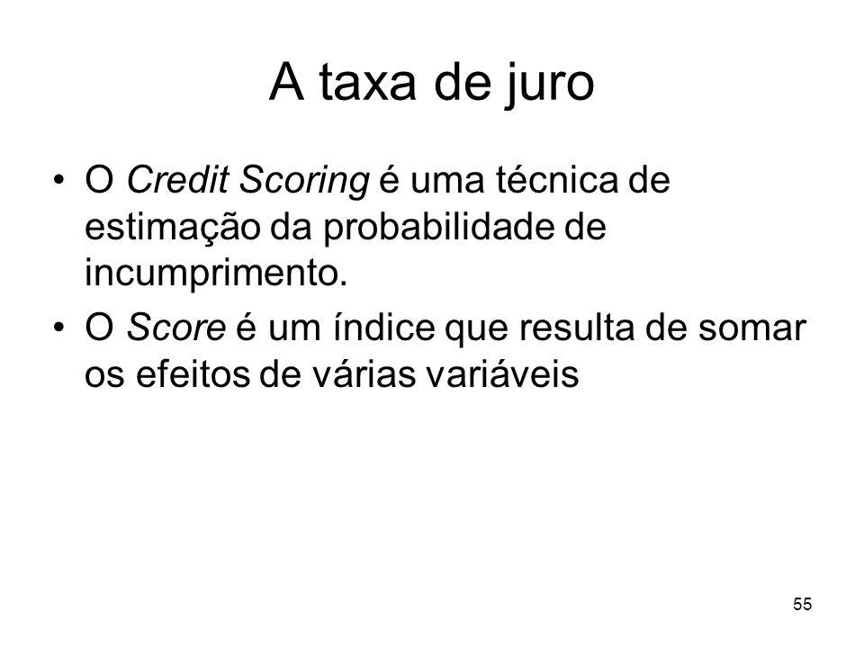 55 A taxa de juro O Credit Scoring é uma técnica de estimação da probabilidade de incumprimento. O Score é um índice que resulta de somar os efeitos d