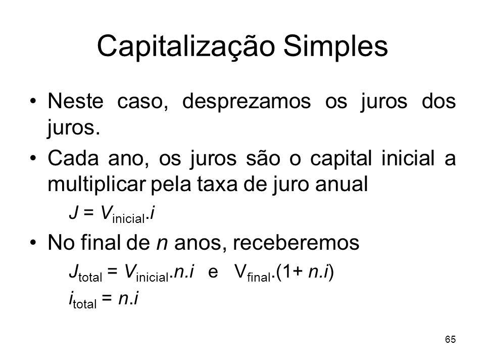 65 Capitalização Simples Neste caso, desprezamos os juros dos juros. Cada ano, os juros são o capital inicial a multiplicar pela taxa de juro anual J