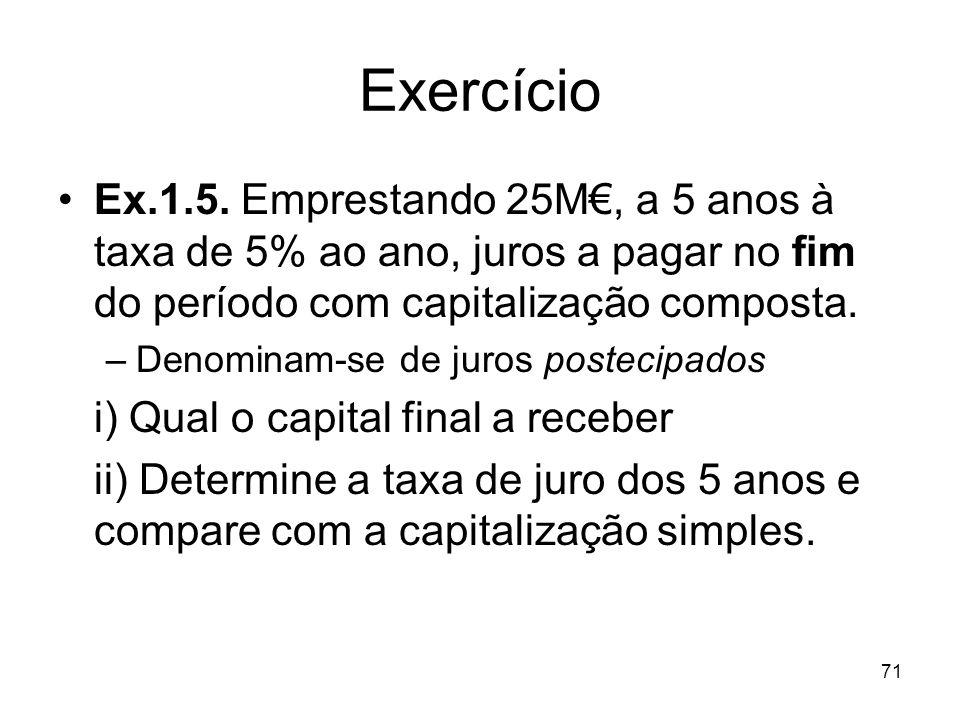 71 Exercício Ex.1.5. Emprestando 25M, a 5 anos à taxa de 5% ao ano, juros a pagar no fim do período com capitalização composta. –Denominam-se de juros