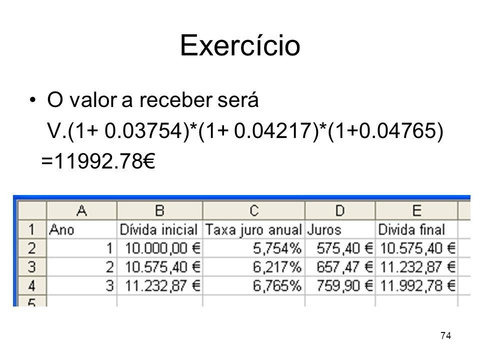 74 Exercício O valor a receber será V.(1+ 0.03754)*(1+ 0.04217)*(1+0.04765) =11992.78