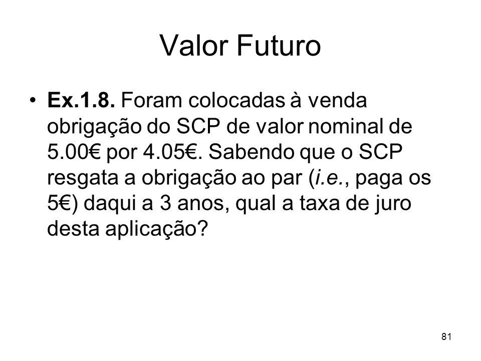 81 Valor Futuro Ex.1.8. Foram colocadas à venda obrigação do SCP de valor nominal de 5.00 por 4.05. Sabendo que o SCP resgata a obrigação ao par (i.e.