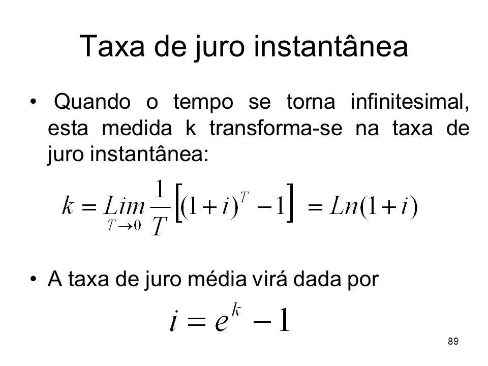 89 Taxa de juro instantânea Quando o tempo se torna infinitesimal, esta medida k transforma-se na taxa de juro instantânea: A taxa de juro média virá