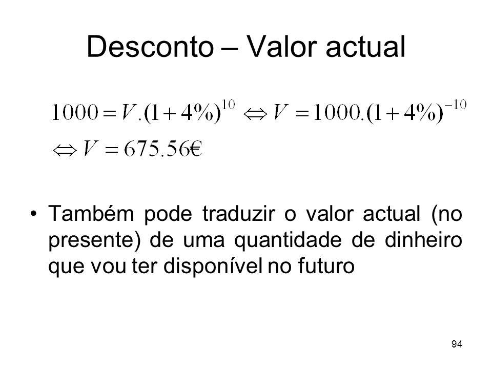 94 Desconto – Valor actual Também pode traduzir o valor actual (no presente) de uma quantidade de dinheiro que vou ter disponível no futuro