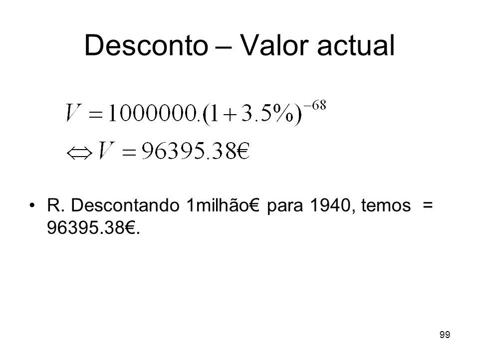 99 Desconto – Valor actual R. Descontando 1milhão para 1940, temos = 96395.38.