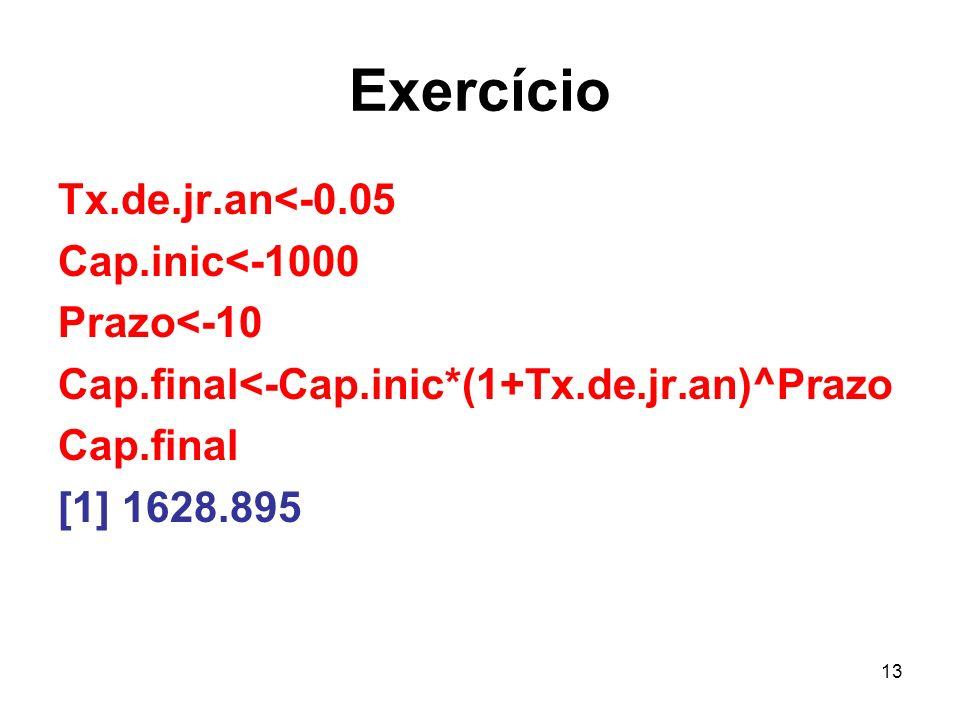 13 Exercício Tx.de.jr.an<-0.05 Cap.inic<-1000 Prazo<-10 Cap.final<-Cap.inic*(1+Tx.de.jr.an)^Prazo Cap.final [1] 1628.895