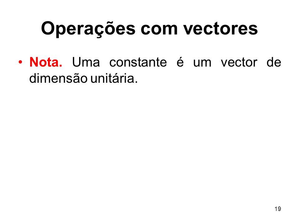 19 Operações com vectores Nota. Uma constante é um vector de dimensão unitária.