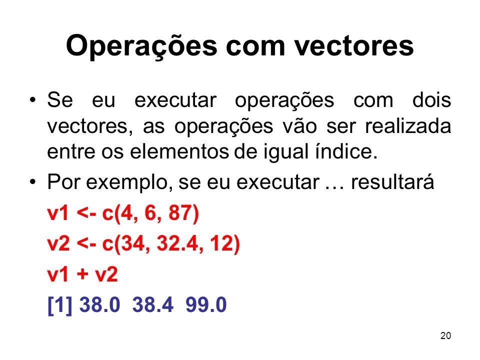 20 Operações com vectores Se eu executar operações com dois vectores, as operações vão ser realizada entre os elementos de igual índice. Por exemplo,
