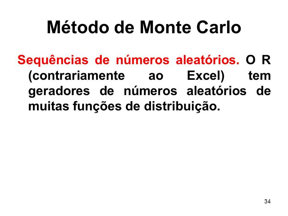 34 Método de Monte Carlo Sequências de números aleatórios. O R (contrariamente ao Excel) tem geradores de números aleatórios de muitas funções de dist