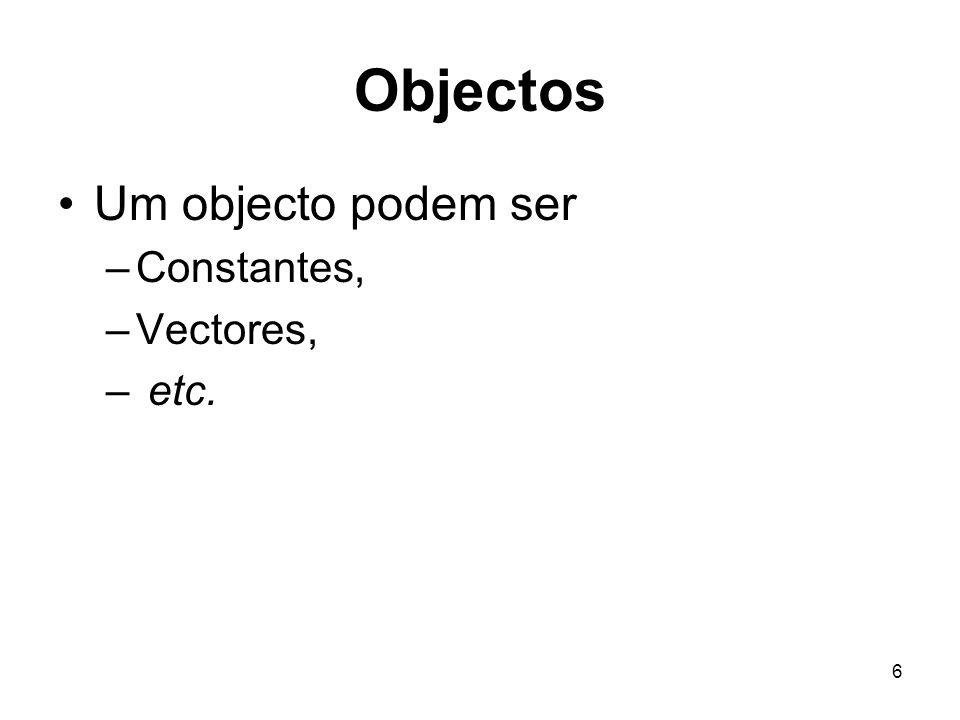 17 Operações com vectores Eu posso usar os vectores na expressões algébricas O R vai calcular a expressão para cada um dos elementos e retorna como resultado outro vector.