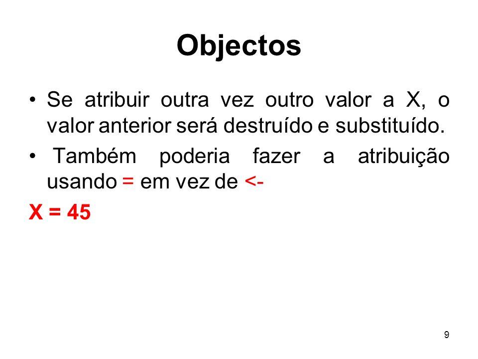 9 Objectos Se atribuir outra vez outro valor a X, o valor anterior será destruído e substituído. Também poderia fazer a atribuição usando = em vez de