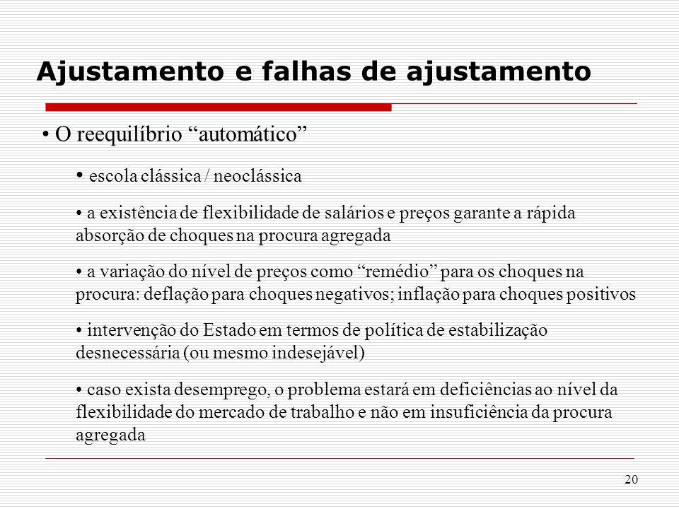 20 Ajustamento e falhas de ajustamento O reequilíbrio automático escola clássica / neoclássica a existência de flexibilidade de salários e preços gara