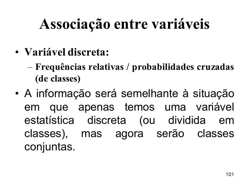 101 Associação entre variáveis Variável discreta: –Frequências relativas / probabilidades cruzadas (de classes) A informação será semelhante à situaçã