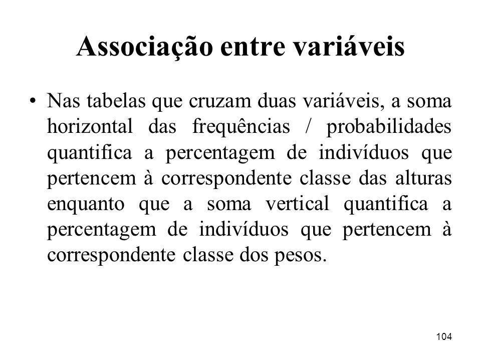 104 Associação entre variáveis Nas tabelas que cruzam duas variáveis, a soma horizontal das frequências / probabilidades quantifica a percentagem de i