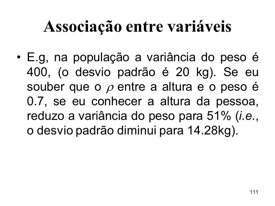 111 Associação entre variáveis E.g, na população a variância do peso é 400, (o desvio padrão é 20 kg). Se eu souber que o entre a altura e o peso é 0.