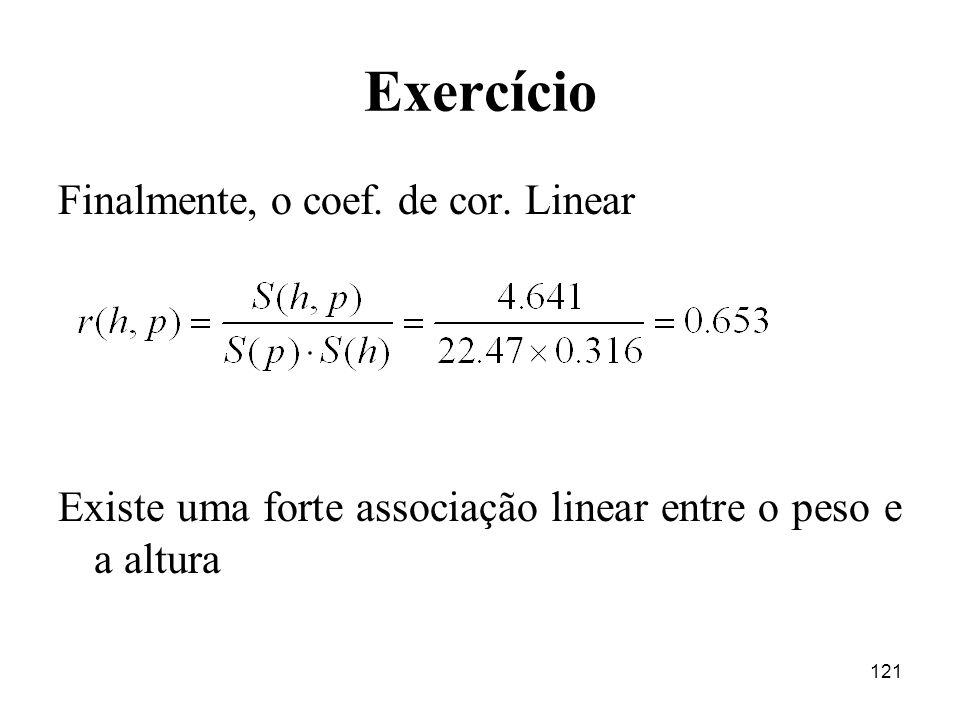 121 Exercício Finalmente, o coef. de cor. Linear Existe uma forte associação linear entre o peso e a altura